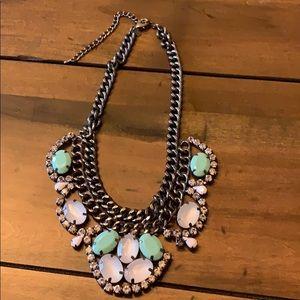Premier Designs mint/white/silver necklace